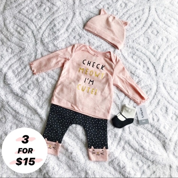 NWT BABY TODDLER GIRLS 3 Pc Set Outfit Cat CARTERS SIZE 24 Mos Hoodie Shirt Pant